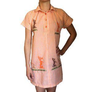 Vintage 60s Gingham Embroidered Dog Shift Dress
